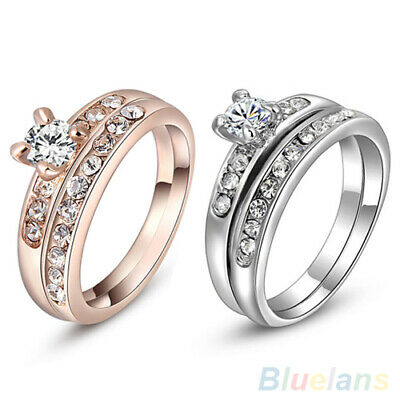 GC- Women 1 Set Knuckle Rings Rhinestone Finger Ring Wedding Party Jewelry Charm