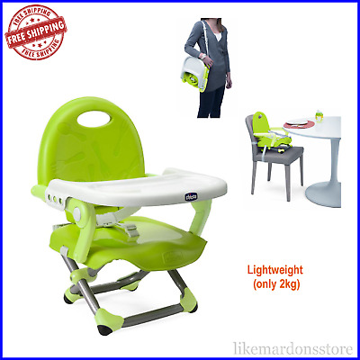 CHICCO Portable Highchair Booster Seat Travel High Chair Pocket Snack - Lime