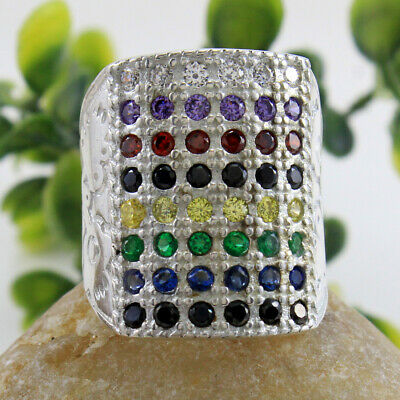 Designer Multi color Stone 925 Sterling Silver Gents Rings 17.1 GM Free Ship