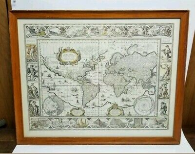 """Old World Map Framed in Glass - 25"""" × 20"""" - Script in Latin - Topographic Map"""
