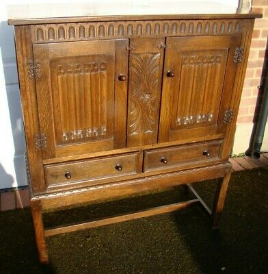 Antique Hall or Pot Sideboard Cupboard 1930s Dark Stained Wood 2 Door & 2 Drawer