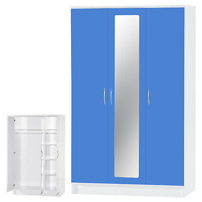 Modern Blue Gloss & White 3 Door Triple Large Mirrored Wardrobe FREE DELIVERY