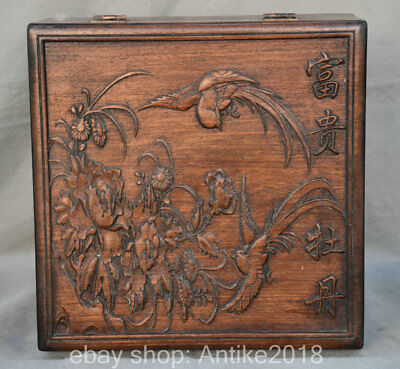 "12"" Old Chinese Huanghuali Wood Dynasty Peony Flower Bird cupboard Cabinet Box"