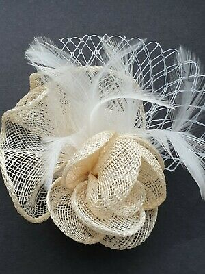 Beautiful CREAM WHITE  feather & flower design facinator wedding