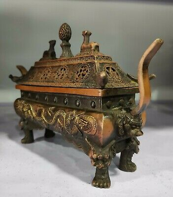 Collectible Decorated Old Handwork bronze Carved Dragon Incense Burner