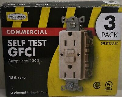 Hubbell 15A Self Test GFCI Commercial Grade Lt Almond 125V 3Pk Self Test NEW