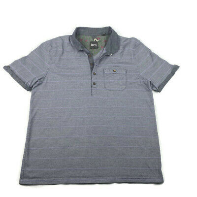 Born by Ted Baker Mens Size 6 2XL Short Sleeve Polo Shirt  Striped Blue Purple