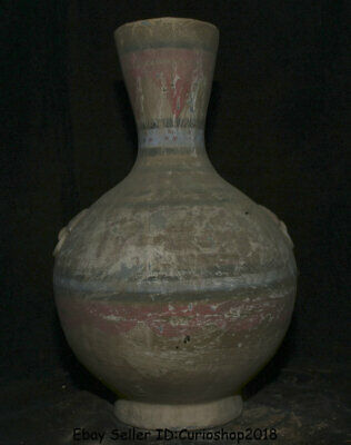 "13.6"" Antique Old Chinese Han Painting Pottery Dynasty Palace Dragon Bottle Vase"