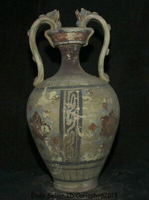 """16.4""""Ancient Chinese Han Painting Pottery Dynasty Dragon Ears Flower Bottle Vase"""