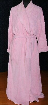 Vintage CHENILLE dressing gown SUSSAN  sM medium LOLLY PINK full length thick