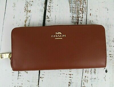 COACH Smooth Leather Accordion Zip Wallet Saddle Brown