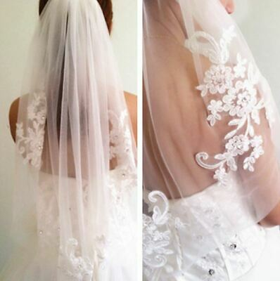 Floral Embroidered white wedding veil Mid Wedding Veil with Lace Details