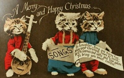 Cats W/ Instrument & Song Writing Merry Christmas Anthropomorphic Cat Postcard