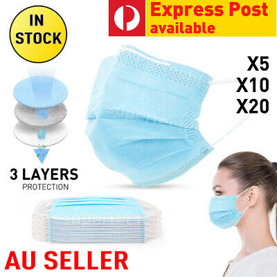 1/5x Face Mask 3-Layer Masks Protective Anti Bacterial Filter SAME DAY SHIPPING