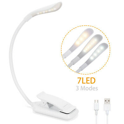 Rechargeable LED Book Light Reading Clip On Lamp Brightness Adjustable Portable