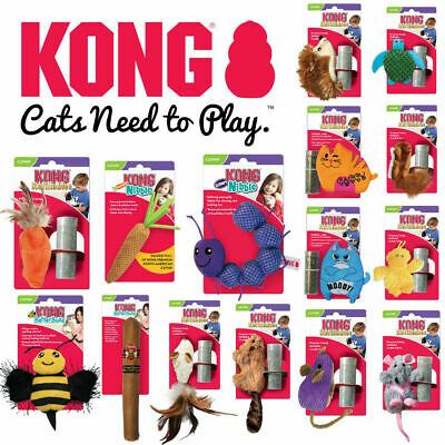 KONG Premium CATNIP Cat Kitten Soft Plush Toys Refillables Better Buzz Nibbles