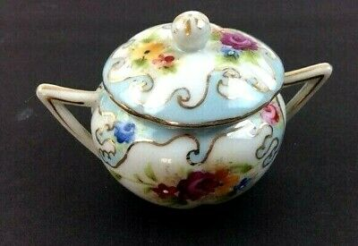 Vintage Hand Painted Floral Sugar Bowl Preowned