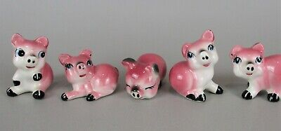 Lot of 5 Vintage Bone China Pink Pig Family Figurines