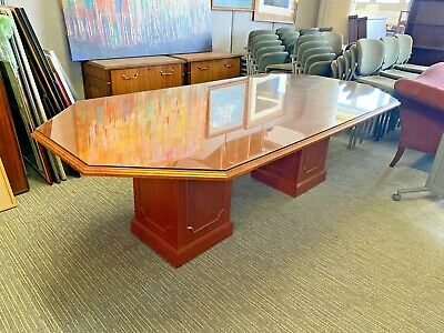 """8'Wx4'Dx30""""H Traditional Style Conference Table in Cherry Laminate w/ Glass"""