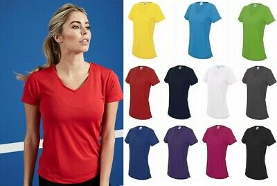 AWDis Ladies Cool V Neck Tee T Shirt Top Wickable Breathable Running Gym JC006