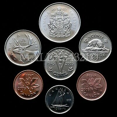 🇨🇦​Canada 2005 Decimal Coin Set 1 Cent To 50 Cent Uncirculated (7 Coins)
