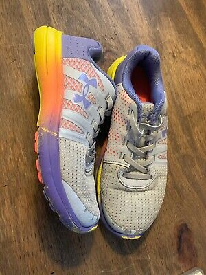 Under Armour Girls Purple/Grey Rainbow Athletic Shoes Size 1.5 Youth