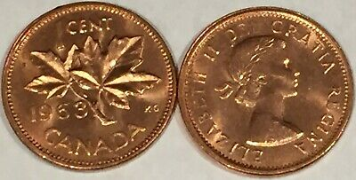 1963 Canada 1 cent MS-GEM-BU from the Mint Roll, RED Uncirculated.