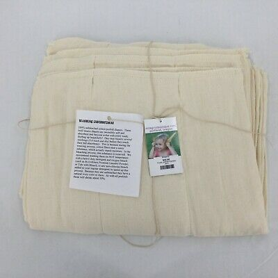 Milagros Boutique ~ 12 Unbleached Prefold Cotton  Cloth Diapers