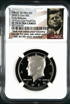 Portrait 2019 S Clad Kennedy Half Dollar Early Releases NGC PF70 Ultra Cameo