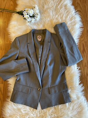 Womens Anne Klein Gray One Button Blazer Size 8