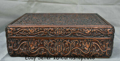 """14.4"""" Old Chinese Huanghuali Wood Carving Lotus Flower Jewelry box jewel case"""