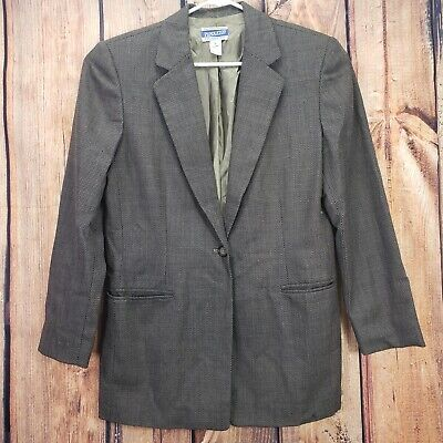 Pendleton Men's Blazer 12 Jacket 100% Virgin Wool Sport Coat Brown Houndstooth.