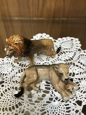 Lion Figurines Porcelain Set of TWO!