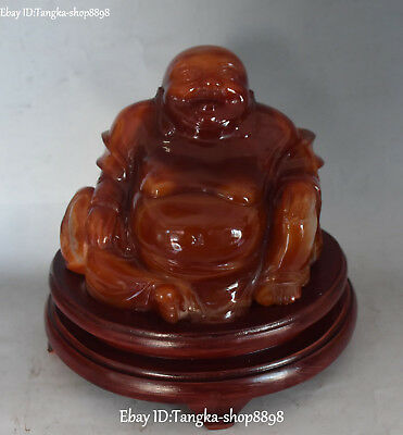 Chinese Natural Agate Onyx Carving Seat Happy Laugh Maitreya Buddha Bag Statue