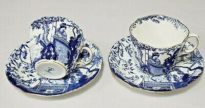 2 sets matching Royal Crown Derby Blue Makado Flat Tea Cup and Saucer 1922 pair