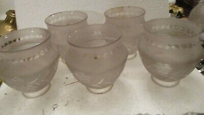 """5  Antique Frosted With Clear Glass Fruit Design 2 1/4"""" Fitter Chandelier Shades"""
