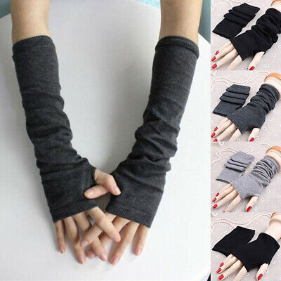 Women Stretchy Arm Warmers Long Fingerless Gloves Fashion Mittens Warm Clothing