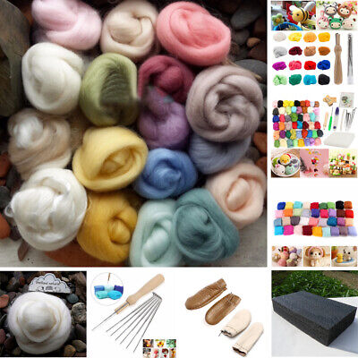 20 Colour DIY Wool Needles Felt Set Needle Felting Mat Starter Craft Tool Kit