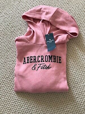 BNWT New Abercrombie & Fitch Kids Girls Pink Cosy Logo Hoodie Jumper 9-10 Years