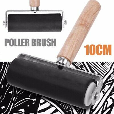 10CM Heavy Duty Hard Rubber Roller Printing Inks Block Brayer Art Craft Tool New