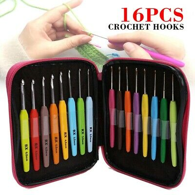 16tlg/set Soft Handle Colorful Plastic Crochet Hooks Weave Knitting Needle Kit