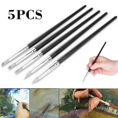 5 pcs Flexible Silicone Gray Color Paint Shapers Clay Sculpting Tools AU