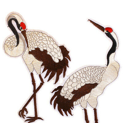 1Pair of Crane Embroidery Sew Iron On Patch Bag Dress Clothes H9C2 Applique O5Z1