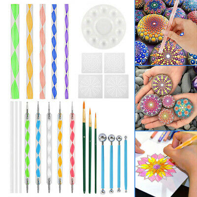 25tlg Mandala Dotting Tools Rods Ball Stylus Painting Pen Stencil Nail Stamp Set