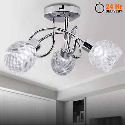 New 3 Way LED Crystal Ceiling Light Chandeliers Kitchen Living//Bed Room Lamps UK