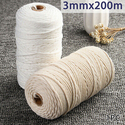 400m 3mm Natural Beige Cotton Twisted Cord Rope Artisan Macrame String Craft DIY