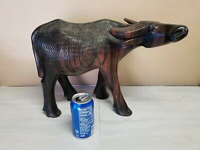 "LARGE Hand Carved Ironwood Water Buffalo Sculpture - 17"" Long x 12"" Tall"