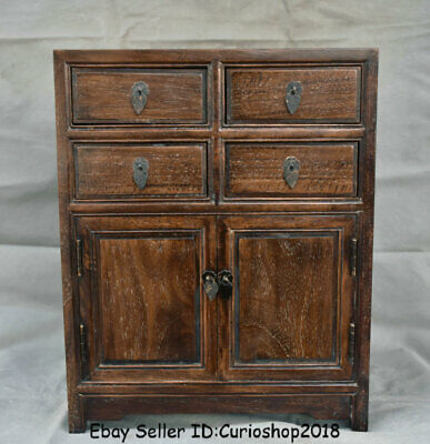"16"" Antique Chinese Huanghuali Wood Dynasty 4 drawer cupboard cabinet furniture"