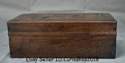 """14.4"""" Antique Chinese Huanghuali Wood Hand Carved Flower Jewelry box  jewel case"""