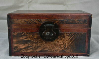 "14.4"" Antique Chinese Dynatsy Huanghuali Wood Carved Storage Box Chest container"